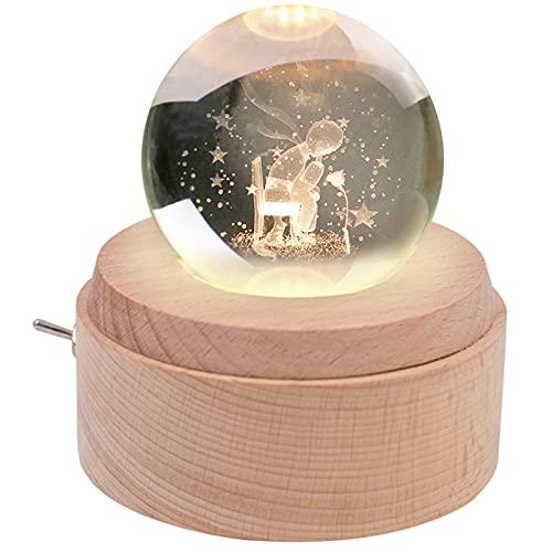 BIAOQINBO Spieluhr, Kleine Prinz & Rose, K9 Glas 3D Kristallkugel, Holzsockel Musikbox, Projektion...