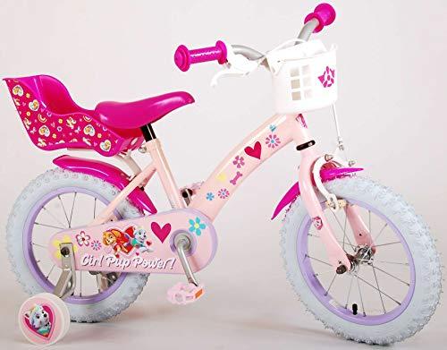 Kinderfahrrad Mädchen Paw Patrol 14 Zoll mit Vorradbremse am Lenker und Rücktrittbremse, Stützräder...
