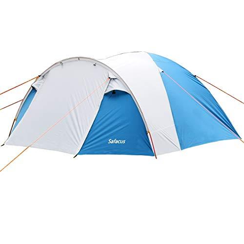 SAFACUS 4 Mann Camping Zelt, mit Vorraum; Iglu-Zelt für 4 Personen (doppelwandig) - blau, Mit Kleinem...