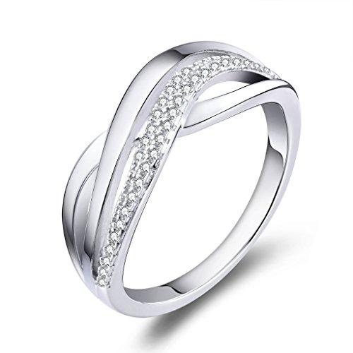 YL Damen Ring-925 Sterling Silber mit AAA Zirkonia Weißes Gold überzogen Crisscross Ring Schmuck