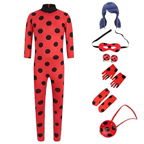 Kinder Rollenspiel Party Kostüm Cosplay für Ladybug, Mädchen Halloween Weihnachts Karneval Superheld...