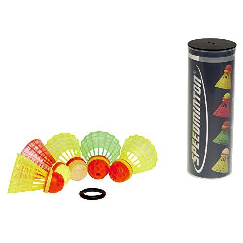 Speedminton Unisex Bälle 5er Pack Speeder Mix Tube Speedminton C, gelb/ rot /Grün,Einheitsgröße EU
