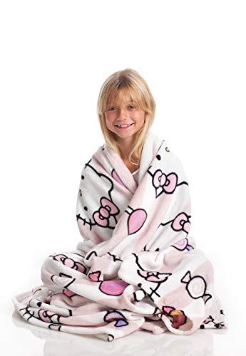 Kanguru Hello Kitty Tagesdecke, Flannel Fleece weich und warm kuscheldecke, 130 x 170 cm, Pinke mit...