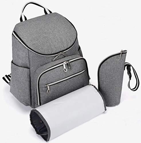 Wickelrucksack grau, groß und multifunktional, wasserabweisend, Wickeltasche geeignet für Kinderwagen