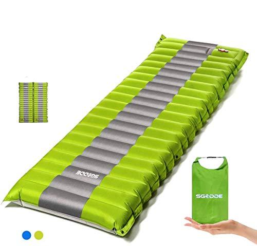 SGODDE Isomatte Camping Selbstaufblasbare,Handpresse Aufblasbare,leichte Rucksackmatte für Wanderungen...