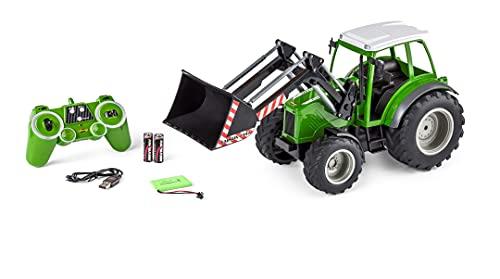 CARSON 500907347 RC Traktor mit Frontlader 1:16 - Ferngesteuertes Fahrzeug, Bauernhoffahrzeug für Kinder...