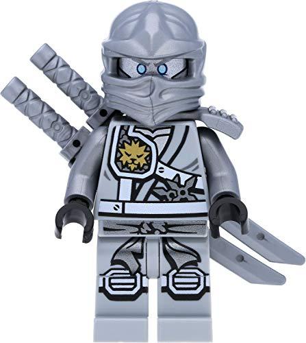 LEGO Ninjago Minifigur Titanium Zane (Grauer/silberner Ninja) mit silbernen Waffen - Wettkampf der...