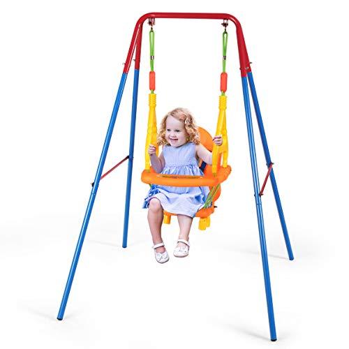 COSTWAY Babyschaukel mit Schaukelgerüst, Schaukelsitz mit Rückenlehne, Geländer und Sicherheitsgurt,...