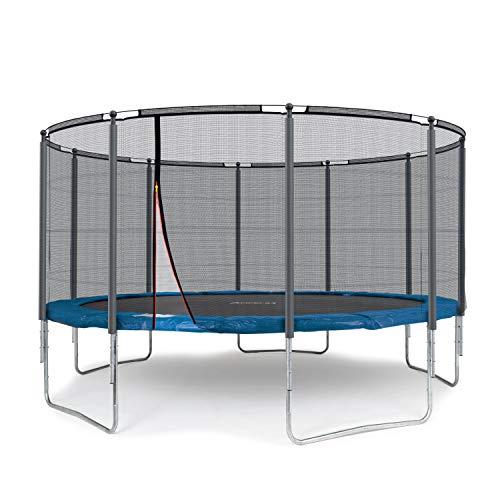 Ampel 24 Outdoor Trampolin 430 cm blau komplett mit außenliegendem Netz, Stabilitätsring, 10...