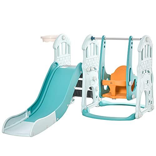 HOMCOM 3 in 1 Kinderrutsche Kinderschaukel Set Spielturm für Kinder 18 bis 48 Monaten Kinder Spielplatz...