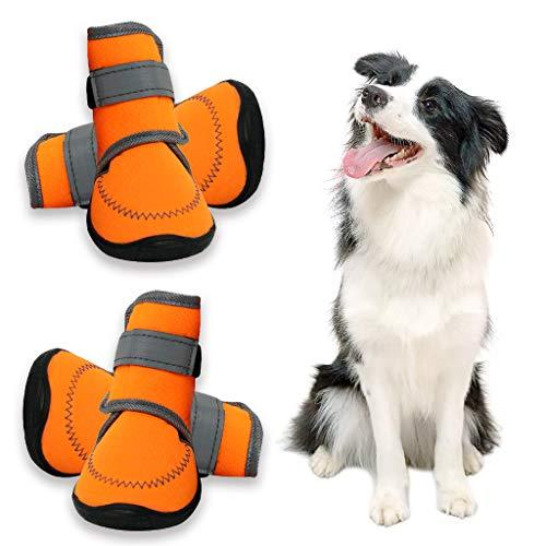 Zeraty Hundeschuhe Pfotenschutz, Anti-rutsch Sole passend für mittlere und große Hunde, Orange / 4...