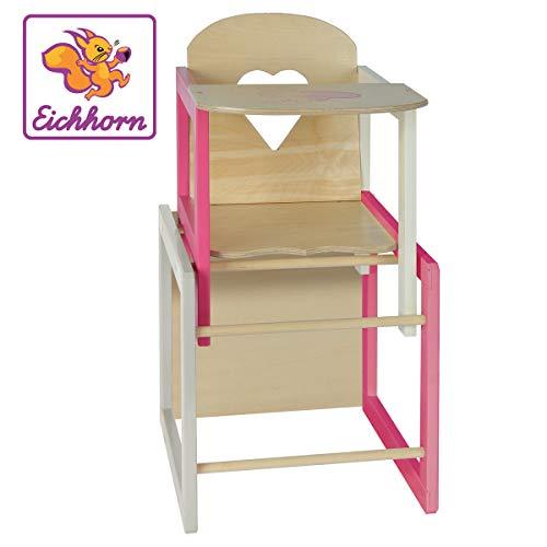 Eichhorn 100002595 - Puppenhochstuhl mit Tisch geeignet für Puppen von 35-49cm, Größe: 30x30x57cm,...