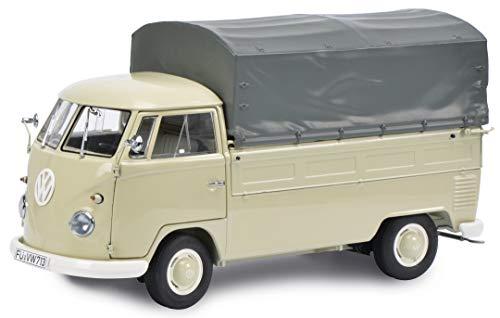 Schuco 450785100 VW T1 Pritsche mit Plane, Modellauto, Zinkdruckguss, Maßstab 1:32, beige