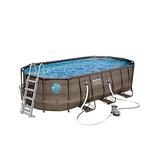 Bestway Power Steel Swim Vista 549x274x122 cm, Frame Pool oval im Komplett Set mit Bullauge, inkl....