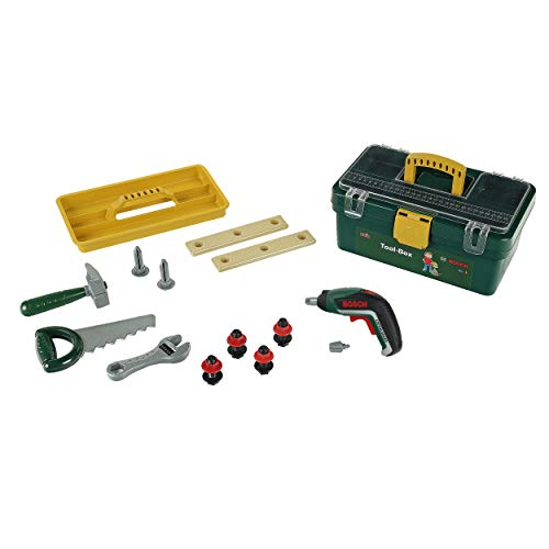Theo Klein 8609 Bosch Werkzeugbox I Mit batteriebetriebenem Akkuschrauber Ixolino II I Inkl. zahlreichem...