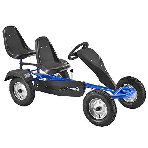 ArtSport 2-Sitzer Gokart mit Schalensitz, Luftreifen, Stahl-Felgen & Freilauf – Tretauto Kinderfahrzeug...