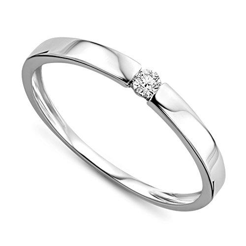 Orovi Ring für Damen Verlobungsring Gold Solitärring Diamantring 9 Karat (375) Brillianten 0.05ct...