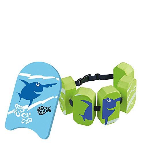 Beco Sealife Schwimmbrett mit Schwimmgürtel blau/grün Wassersport Kinder Aqua