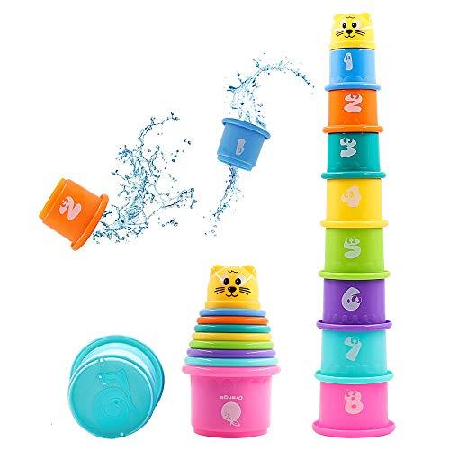 Hyselene 9 Stück Stapelbecher Baby, Sandspielzeug Badespielzeug Kinder mit Zahlen Obst Tier, Stapelturm...
