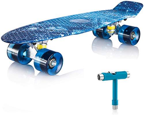 Newdora Skateboard 22' kompletter Mini Cruiser Komplettboard mit Buntem LED-Lichtrad für Kinder, Jungs,...