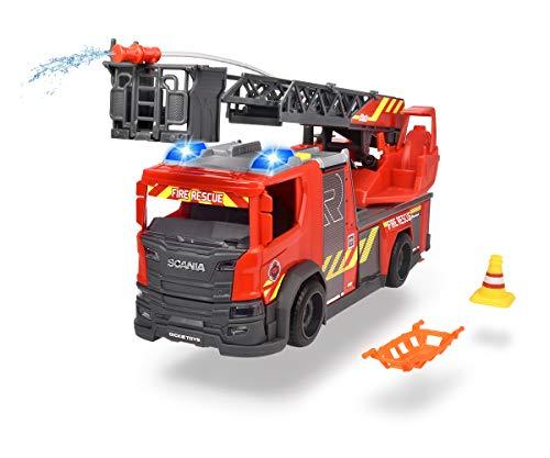 Dickie Toys Scania Drehleiter Feuerwehr, Wasserspritzfunktion, Rosenbauer, Licht & Sound, inkl....