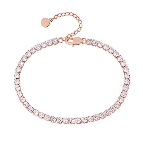 KRKC&CO 4mm Damen Tennis Fußkettchen, Rosegold beschichtet Tennisarmband, Länge verstellbar Fußspange...
