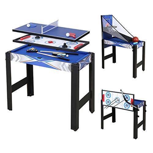 JCFDE Multigame Spieletisch Mega inkl. komplettem Zubehör, Spieltisch mit Kickertisch, Billardtisch,...