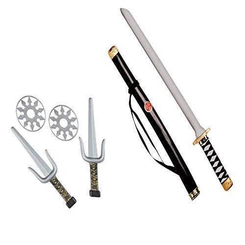 Widmann 27271 - Ninja Waffenset, 1 Schwert mit Scheide, 2 Sai und 2 Wurfsterne, Schwarz/Silber, 5-teilig,...