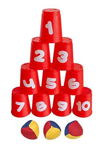 Idena 40416 - Ballwurfspiel mit 10 Bechern und 3 Bällen, ab 3 Jahren, für Geburtstagsfeiern, im Garten...