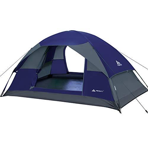 Forceatt Campingzelt für 2 Personen mit Doppeltüren, wasserdicht und Winddicht, Rucksack, belüftet und...