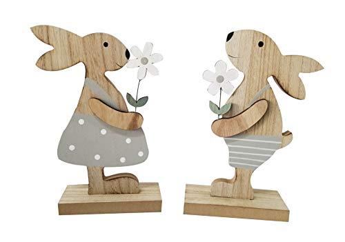 khevga Deko-Hase aus Holz 2er Set Oster-Deko Osterhase