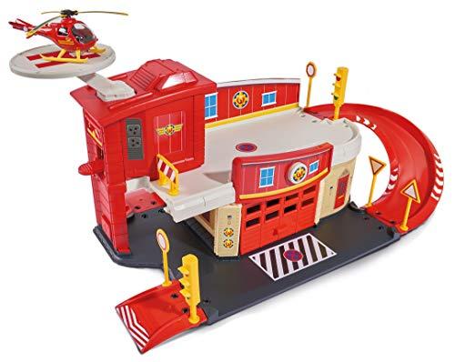 Dickie Toys Feuerwehrmann Sam Fire Rescue Centre, Rettungsstation, Spielzeughaus mit Helikopter, 48x26x23...