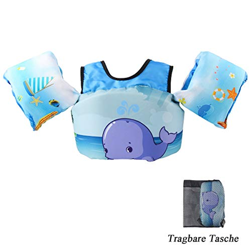 VIEKUU Schwimmflügel Schwimmwesten mit Schultergurt für Kinder von 2-6 Jahre 15-25kg Schwimmweste für...