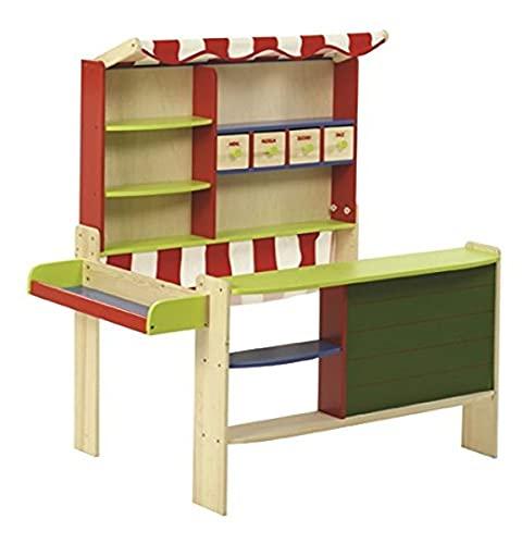 roba Kaufladen 'Marktstand', Kinder Kaufmannsladen, Holz bunt, Verkaufsstand mit Tafel, Theke,...