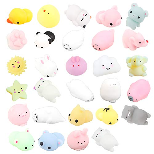 ZoneYan 29 Stück Mini Kawaii Squishy, Squishy Kawaii Tiere und Obst, Mochi Squeeze Toys, Kawaii Squishy...