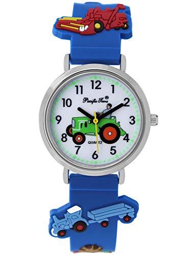 Pacific Time Jungen Uhr Traktor Trecker Bauernhof Glow in The Dark analog Quarz mit Silikonarmband blau...
