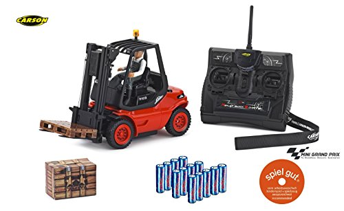 CARSON 500907093 - 1:14 Gabelstapler Linde 2.4G 100% RTR, Ferngesteuertes Fahrzeug, Nutzfahrzeug,...