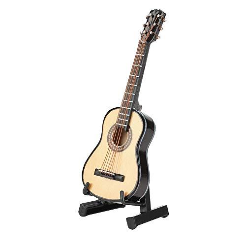 Mini Gitarre, Miniatur Modell Gitarre aus Holz mit Ständer und Koffer, Mini Musikinstrument für...