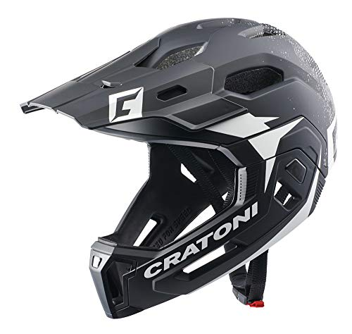 Cratoni C-Maniac 2.0 MX Fahrradhelm Fullfacehelm Downhill Freeride Kinnbügel abnehmbar (schwarz-Weiss,...