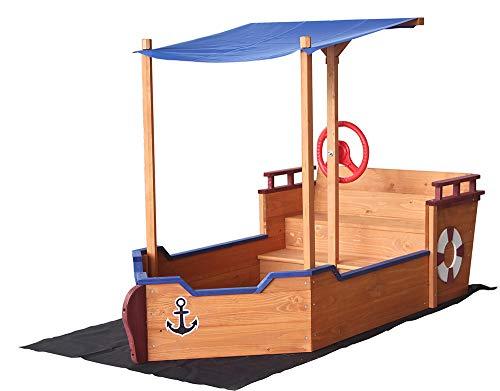Home Deluxe - Sandkasten Matschekiste - Segelschiff inkl. Bodenplane - Maße: 160 x 78 x 103 cm - inkl....
