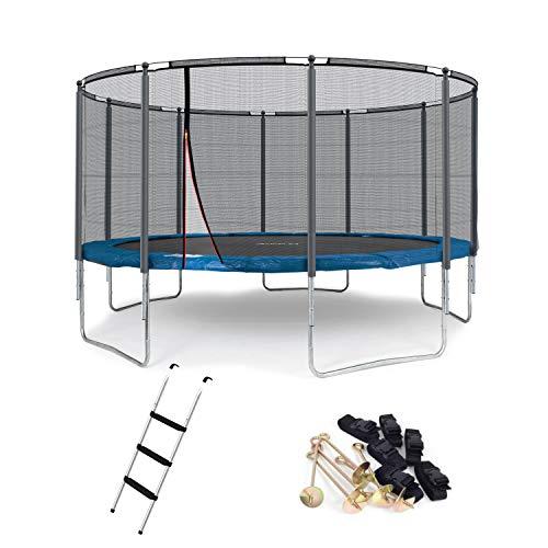 Ampel 24 Outdoor Trampolin 430 cm blau mit verstärktem Netz, gepolsterten Stangen, Stabilitätsring,...