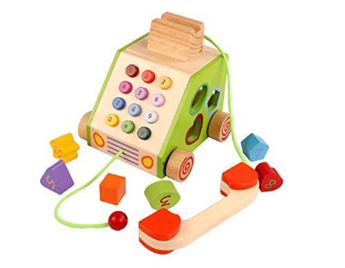 Lalia Nachzieh Holzspielzeug,Telefon Motorik Spielzeug, Nachziehtier bunt, aus Holz, Geschenk für Kinder...