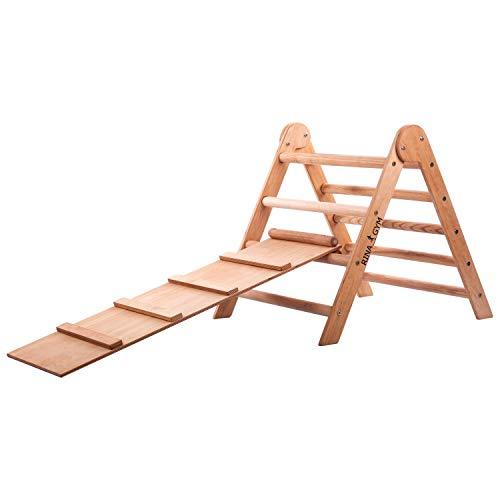 RINAGYM-Kletterdreieck - Indoor-Leiter mit Rutsche - Holzrahmen für Kinder, fördert das Gleichgewicht -...