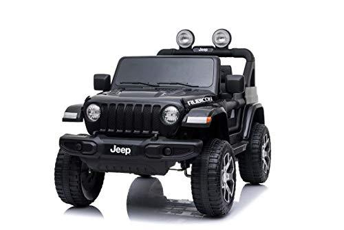 Elektroauto für Kinder JEEP Wrangler, Schwarz, Doppelledersitz, Radio mit Bluetooth- und USB-Eingang,...