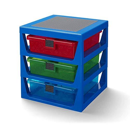 LEGO Aufbewahrungsregal mit 3 Schubladen, Einheitsgröße, Blau
