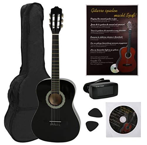 NAVARRA Konzertgitarre 3/4 Starter Set, inkl. Tasche leicht gepolstert mit Rucksackriemen, Lehrbuch und...