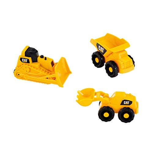 Theo Klein 3236 Baustellenfahrzeuge 3 TLG CAT Baustellen-Fahrzeuge-Set für den Sandkasten, Gelb