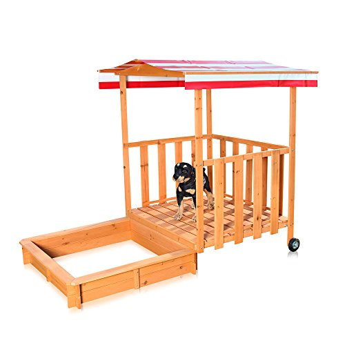 Melko Sandkasten Sandbox mit Abdeckung und Sonnenschutz aus Holz für Kinder, 182 x 100 x 140, mit...