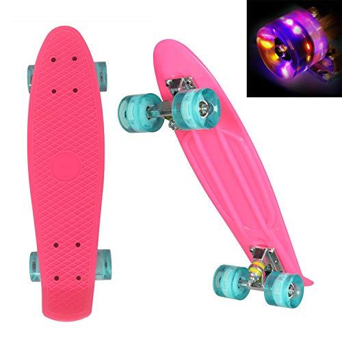 WeSkate 55cm Cruiser Skateboard Komplett Mini Vintage Skate Board mit LED Leuchtrollen für Kinder...