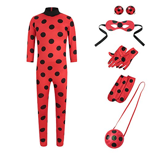 Tomlyws Ladybug Mädchen Marienkäfer Kostüm Kinder Halloween Karneval Marinette Overall Party Cosplay...